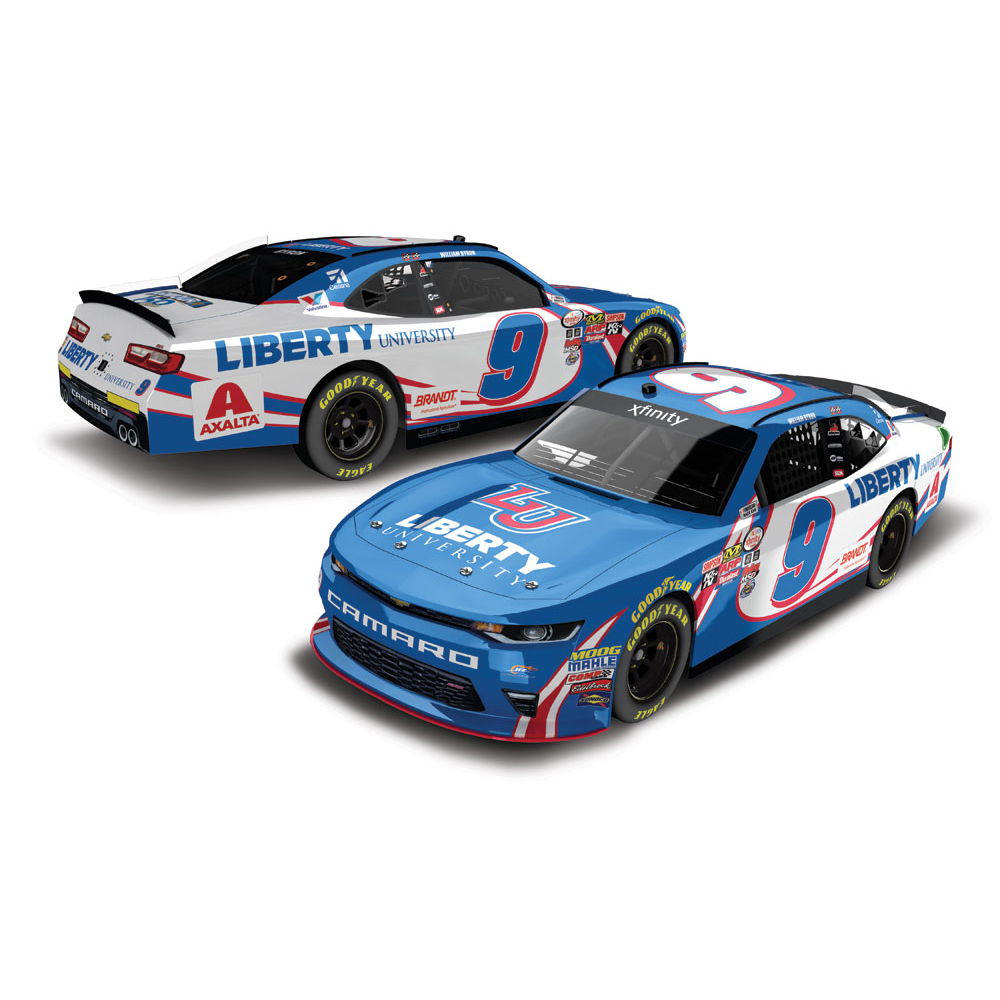 William Byron 2017 NASCAR XFINITY Series No. 9 Liberty University Throwback AUTOGRAPHED 1:24 Die-Cast
