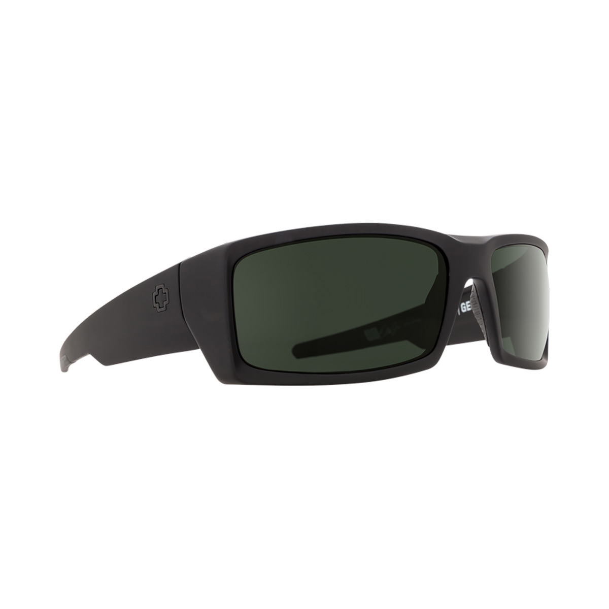 SPY Optic General Soft Matte Black Frame Happy Grey Green Polar Lens