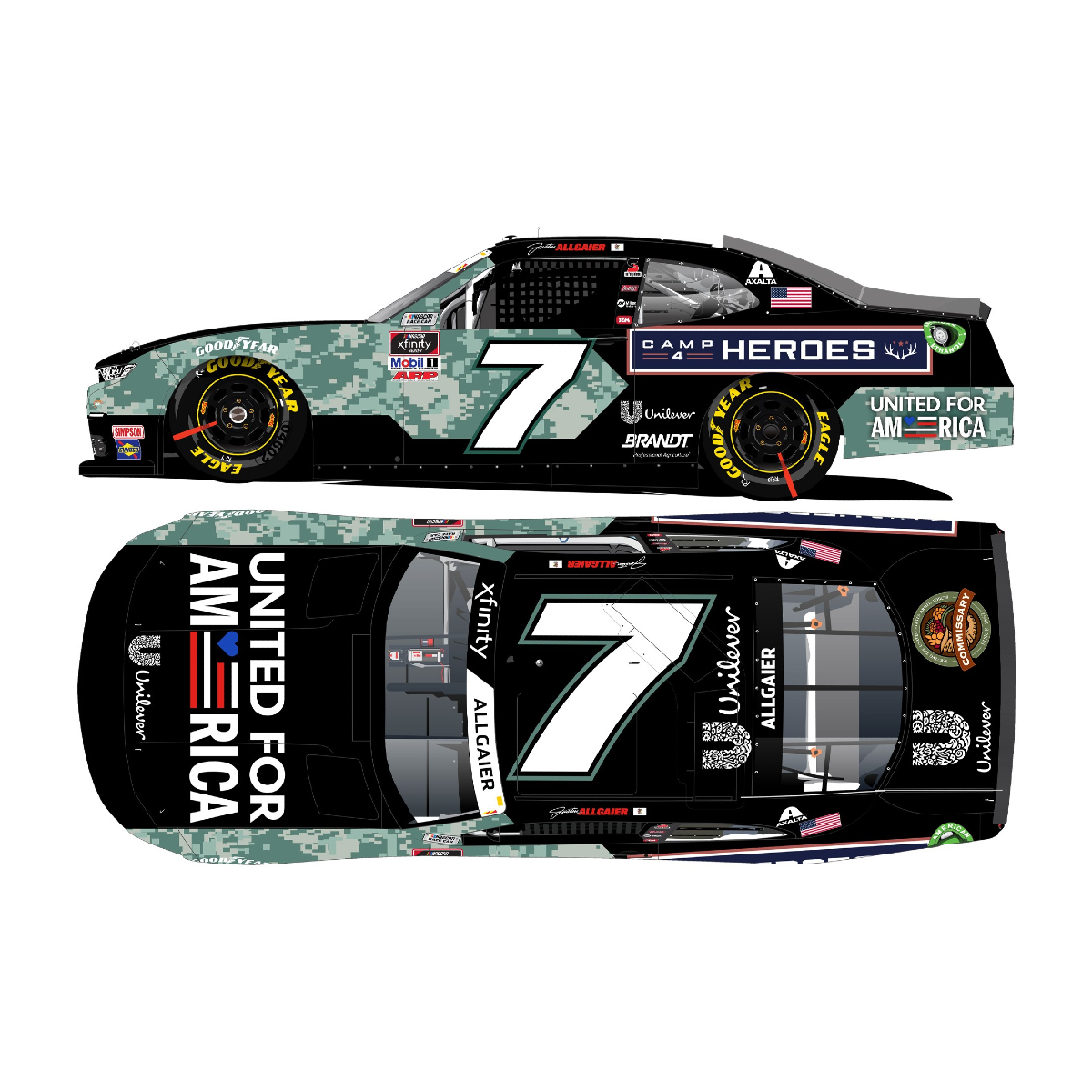 Justin Allgaier #7 2021 United for America 1:24 AUTOGRAPHED Die-Cast