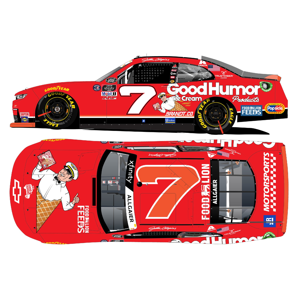 Autographed Justin Allgaier #7 2021 Darlington Good Humor Throwback 1:24 HO Die-Cast