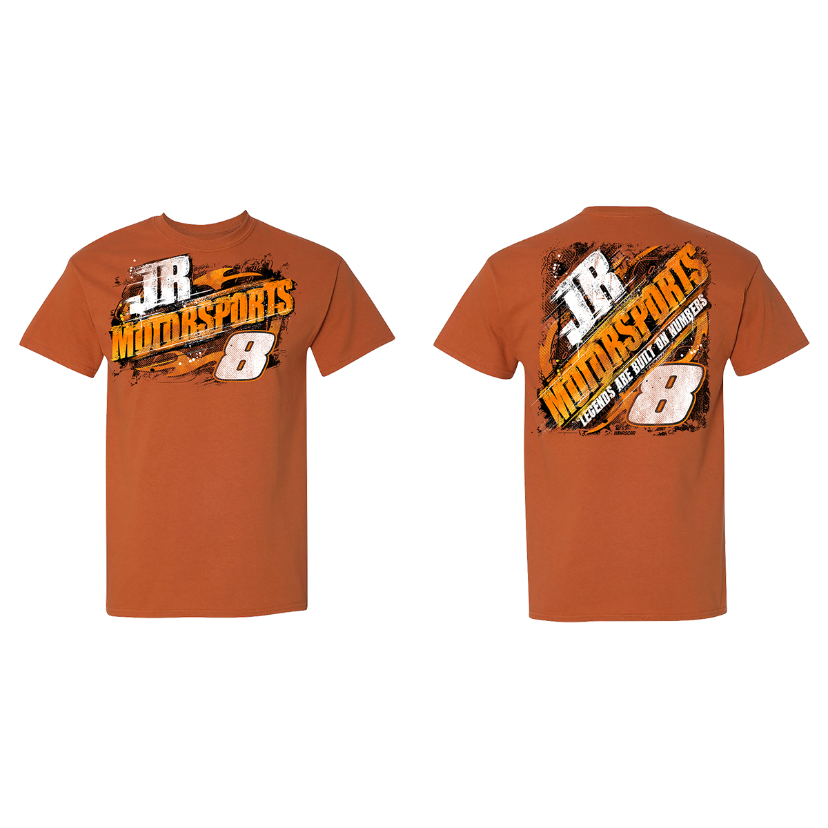 2019 NASCAR Jr. Motorsports Legends Built on #'s Orange T-shirt
