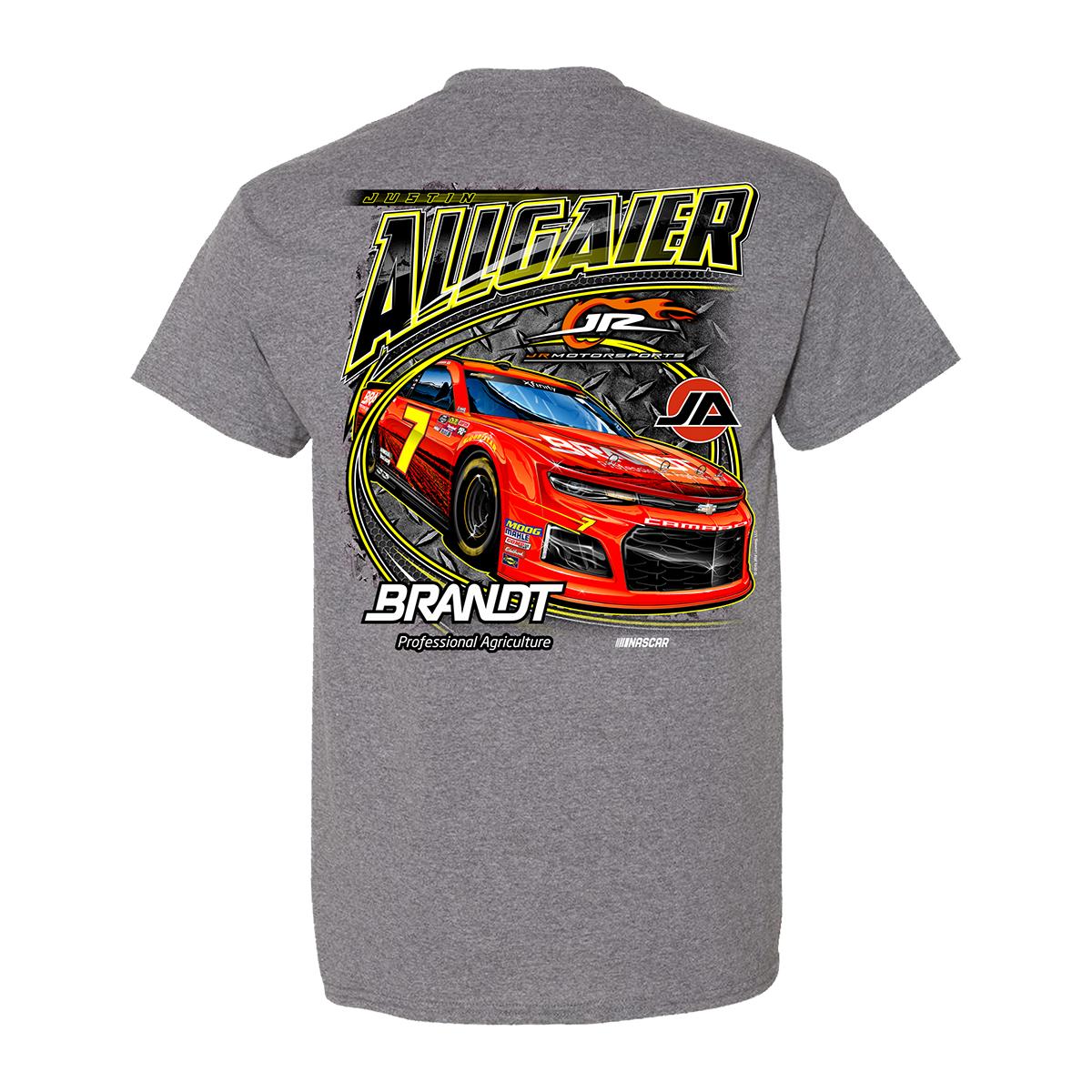 2019 #7 NASCAR Justin Allgaier Graphite Heather Brandt T-shirt