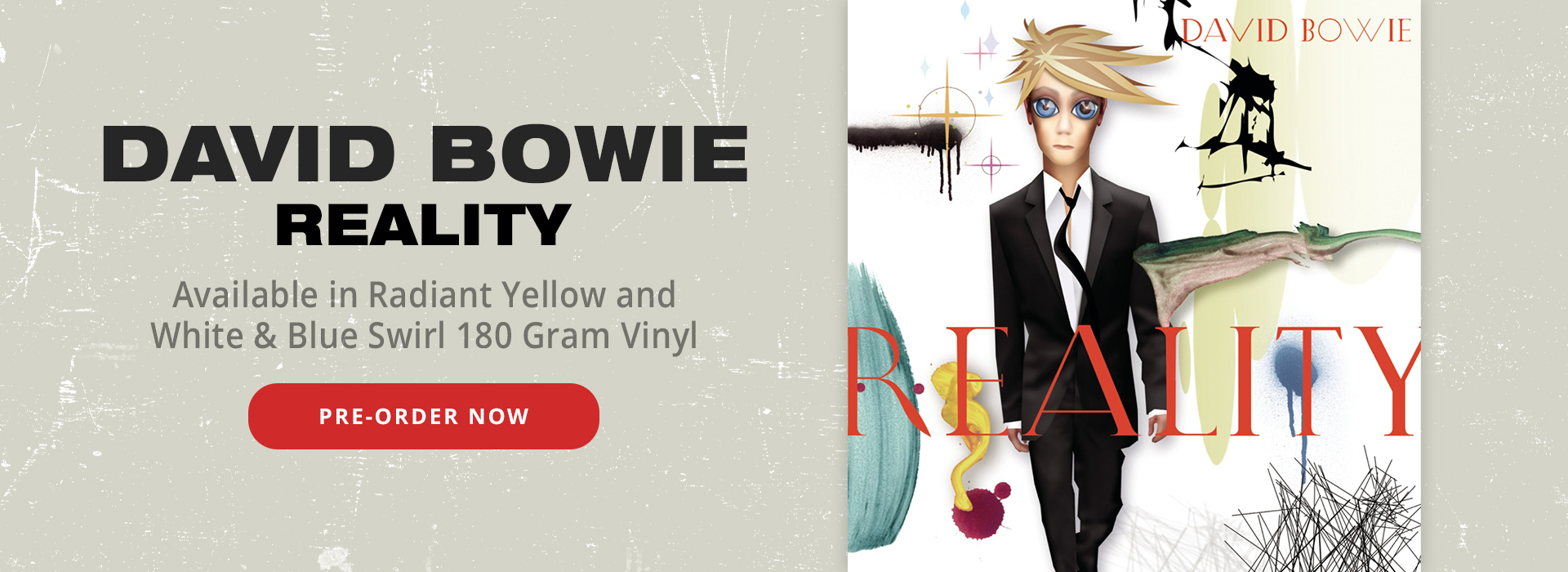David Bowie Reality | Available in Radiant Yellow and White & Blue Swirl 180 Gram Vinyl | Shop Now!