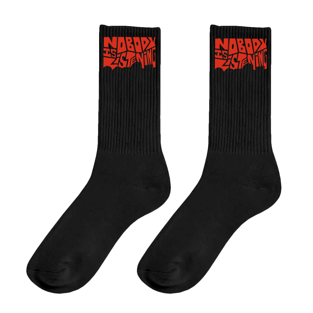NIL Black Socks with Red Font