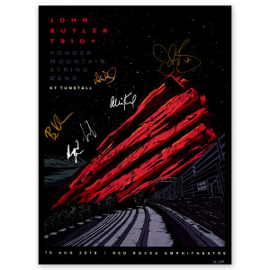 John Butler Trio Red Rocks 2019 Autographed Poster