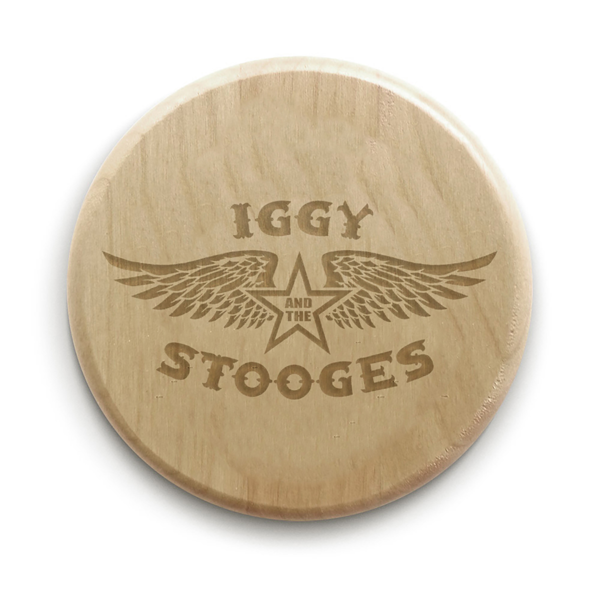 """Iggy and the Stooges ® 4"""" Circle Wood Coaster"""