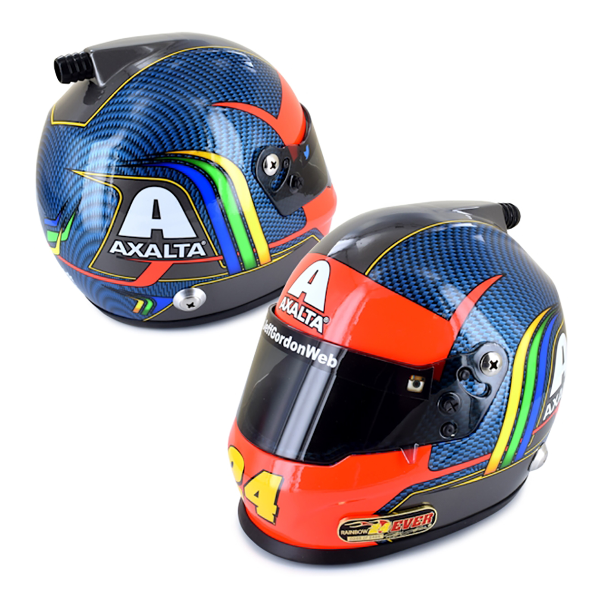 Jeff Gordon #24Ever Replica Mini Helmet 4-Pack Premium Tribute Set With Autographed Book