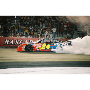 Dual Autographed Jeff Gordon / Robbie Loomis 2002 #24 Bristol Race Win Liquid Color 1:24 Scale Die Cast