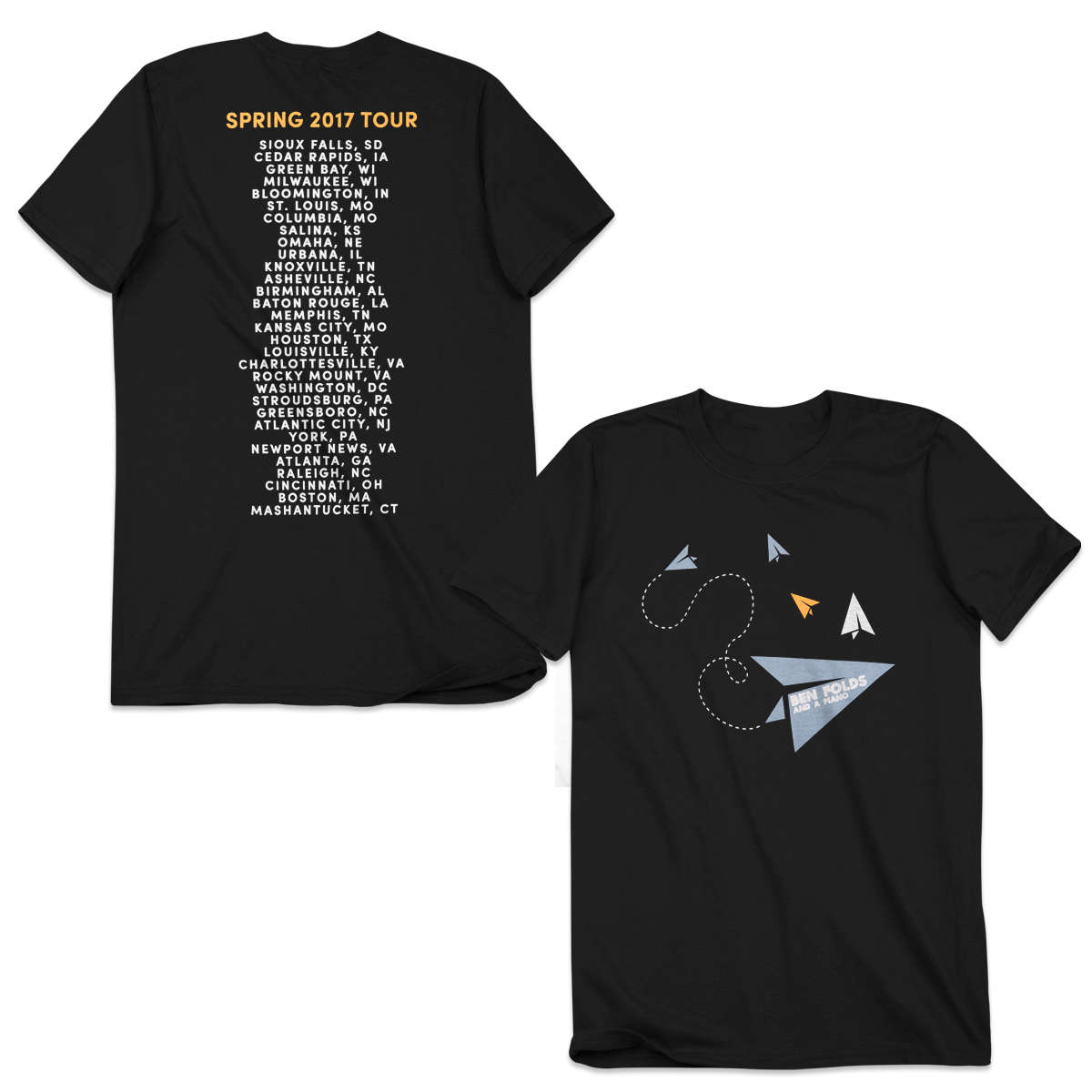 Ben Folds 2017 Tour Dates Airplane Logo T