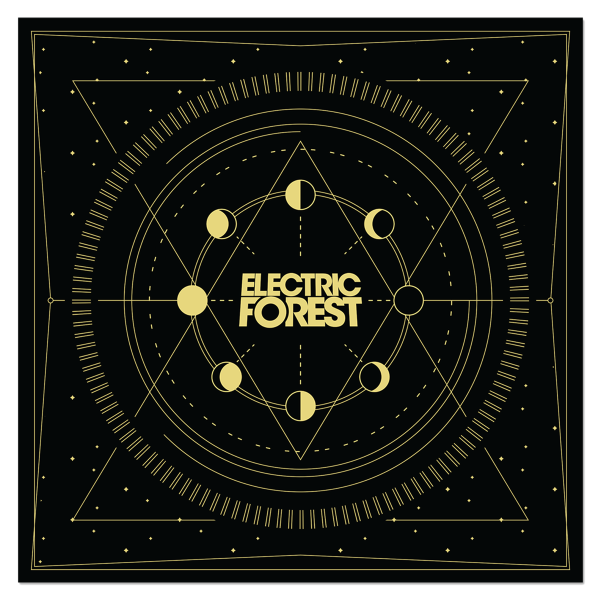 Moon Phases Bandana - Black