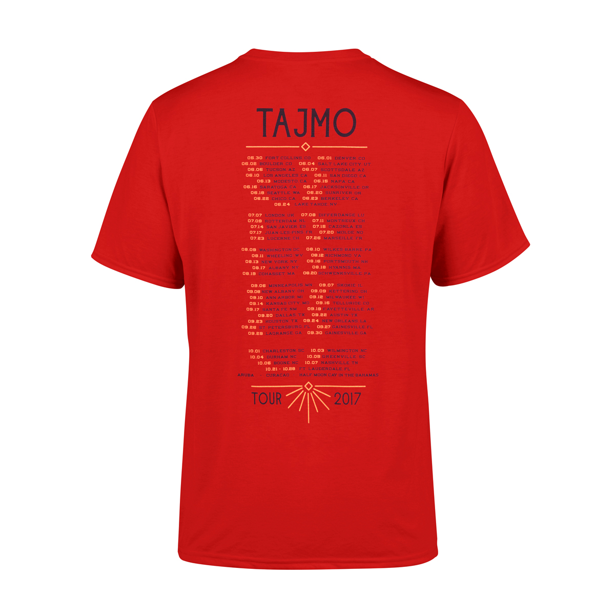 TajMo Bright Red Flag 2017 Tour Tee