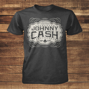 Johnny Cash Emblem Charcoal T-Shirt
