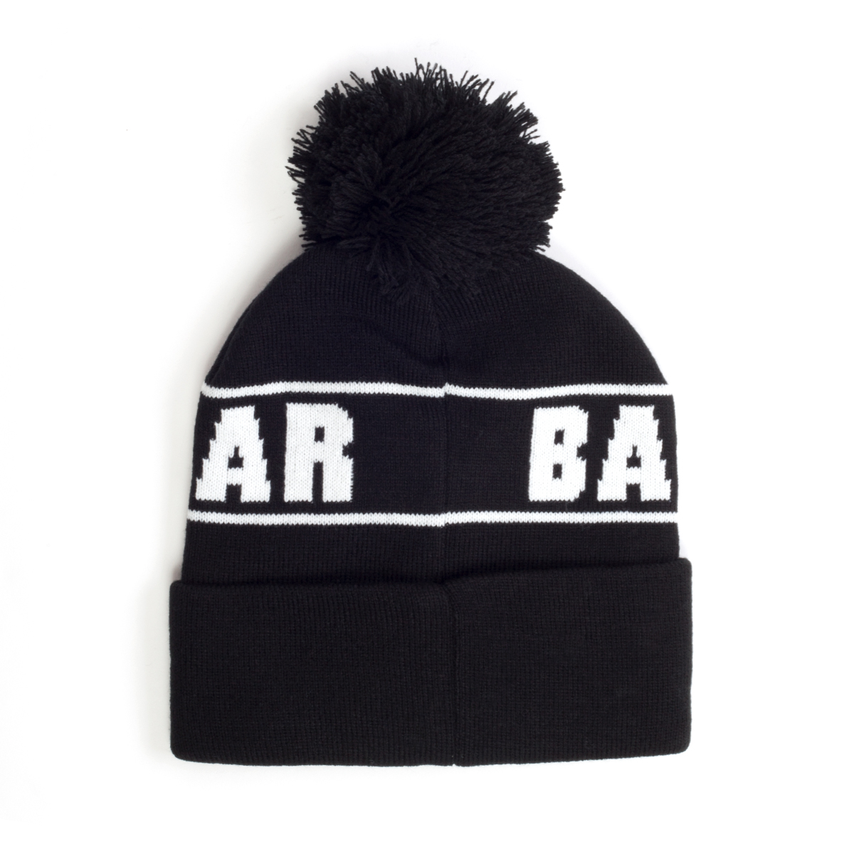 Black Custom Patch Knit Beanie