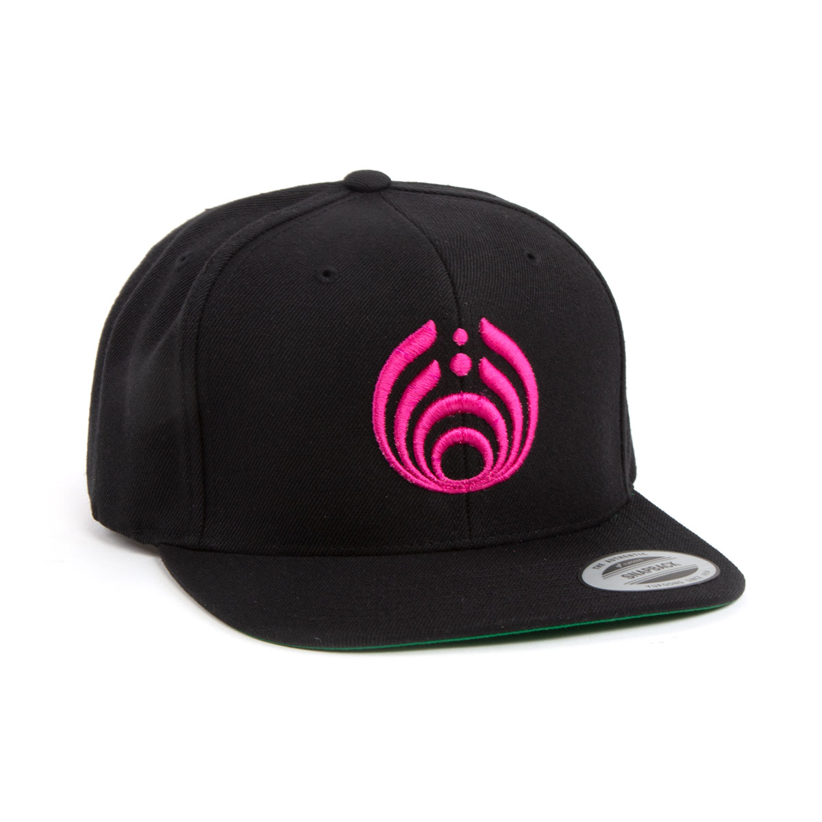 Pink on Black Puffy Bass Drop Logo Hat