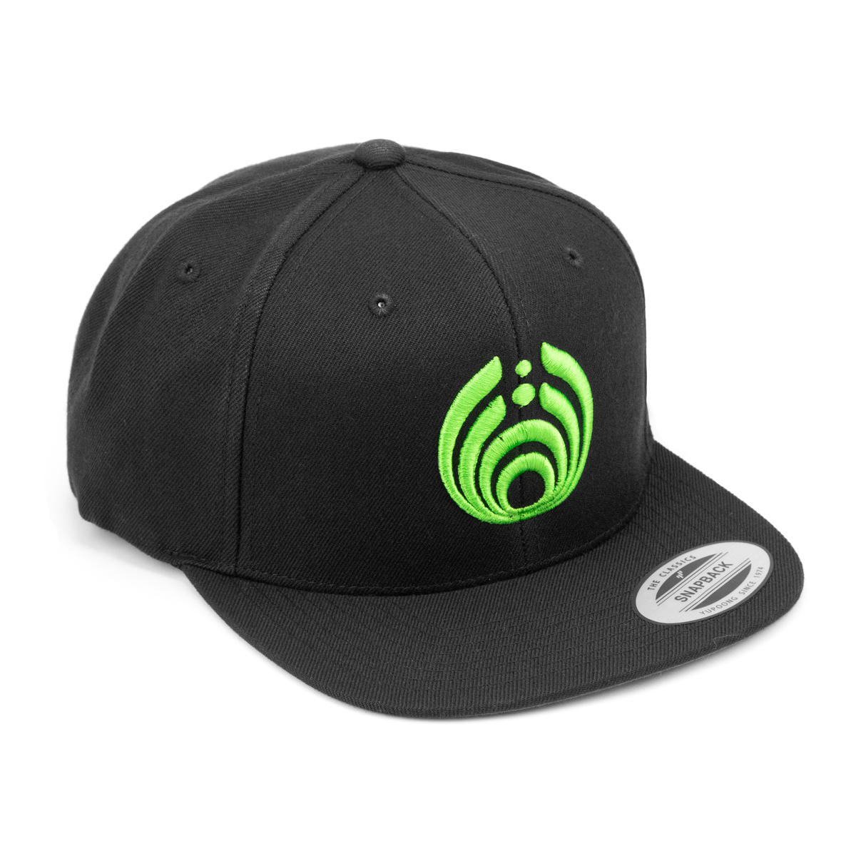 Green on Black Puffy Bass Drop Logo Hat