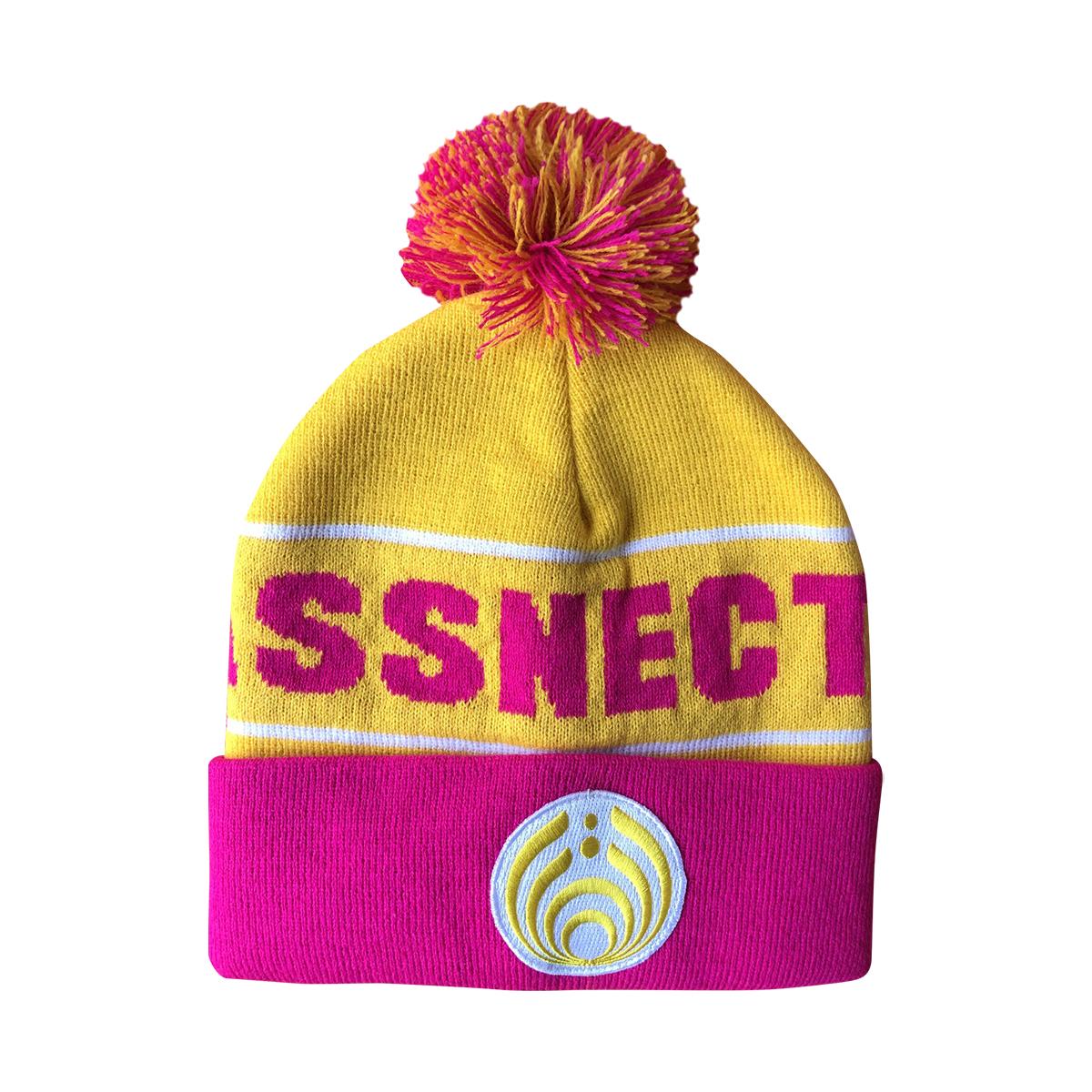 Yellow/Pink Custom Patch Knit Beanie