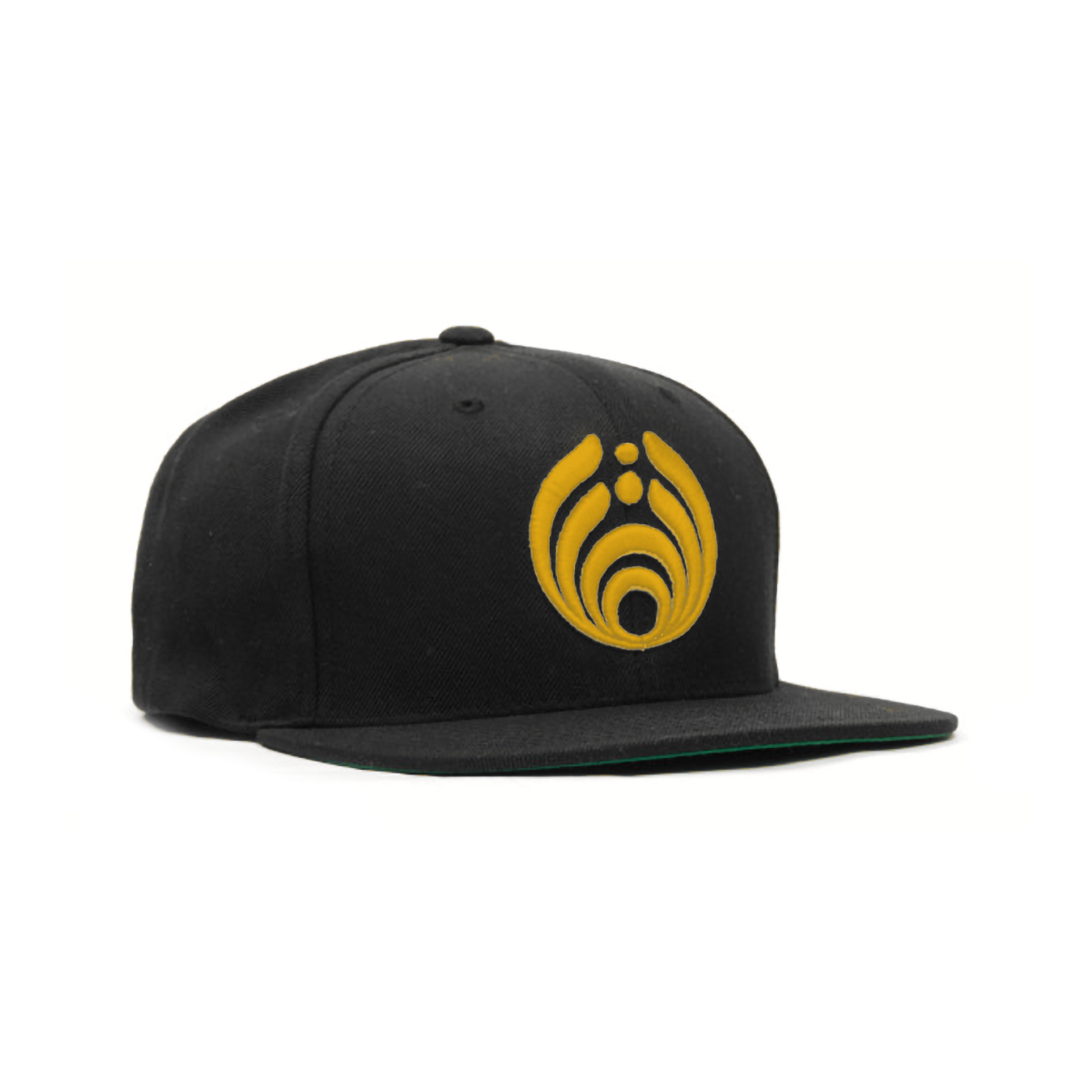 Gold on Black Puffy Bass Drop Logo Hat