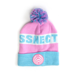 Pink and Blue Custom Patch Knit Beanie