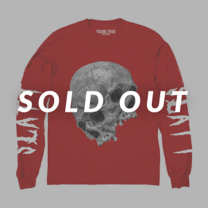 Thugger Skull Red Long Sleeve T-Shirt