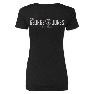 George Jones Pick and Logo V-Neck T-Shirt – Black