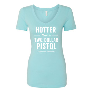 George Jones $2 Pistol Ladies' V-Neck - Light Blue