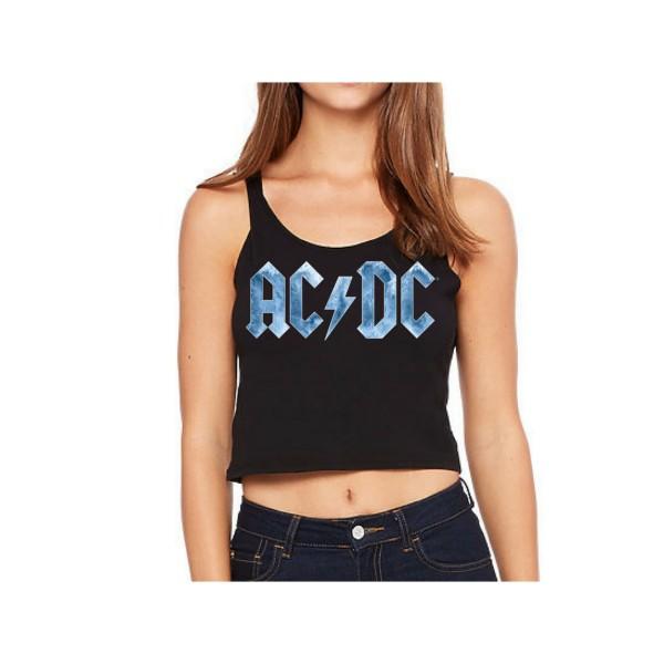 372efcc84c693 AC DC Ice Logo Sleeveless Crop Top