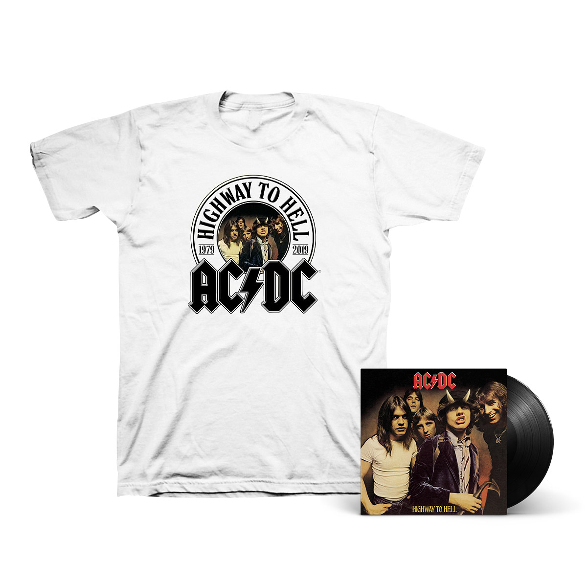 Highway To Hell LP & 40th Anniversary T-Shirt Bundle