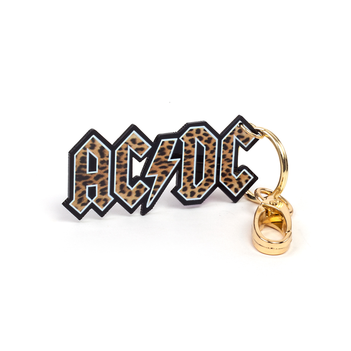 AC/DC Leopard Print Band Logo Keychain