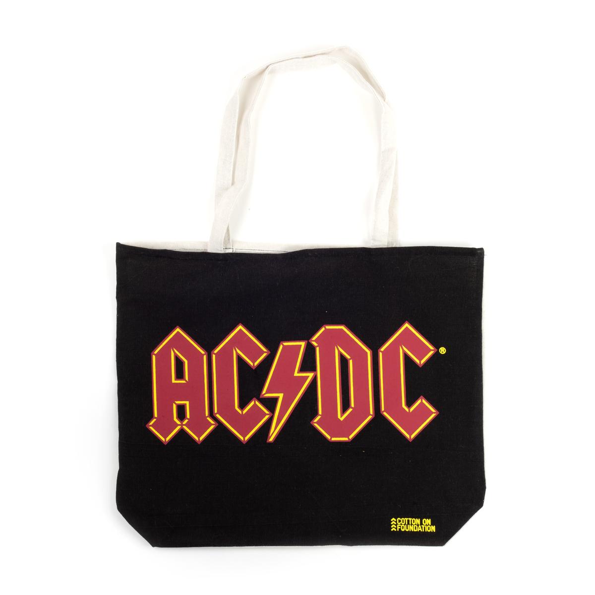 AC/DC Red Band Logo Black Tote Bag