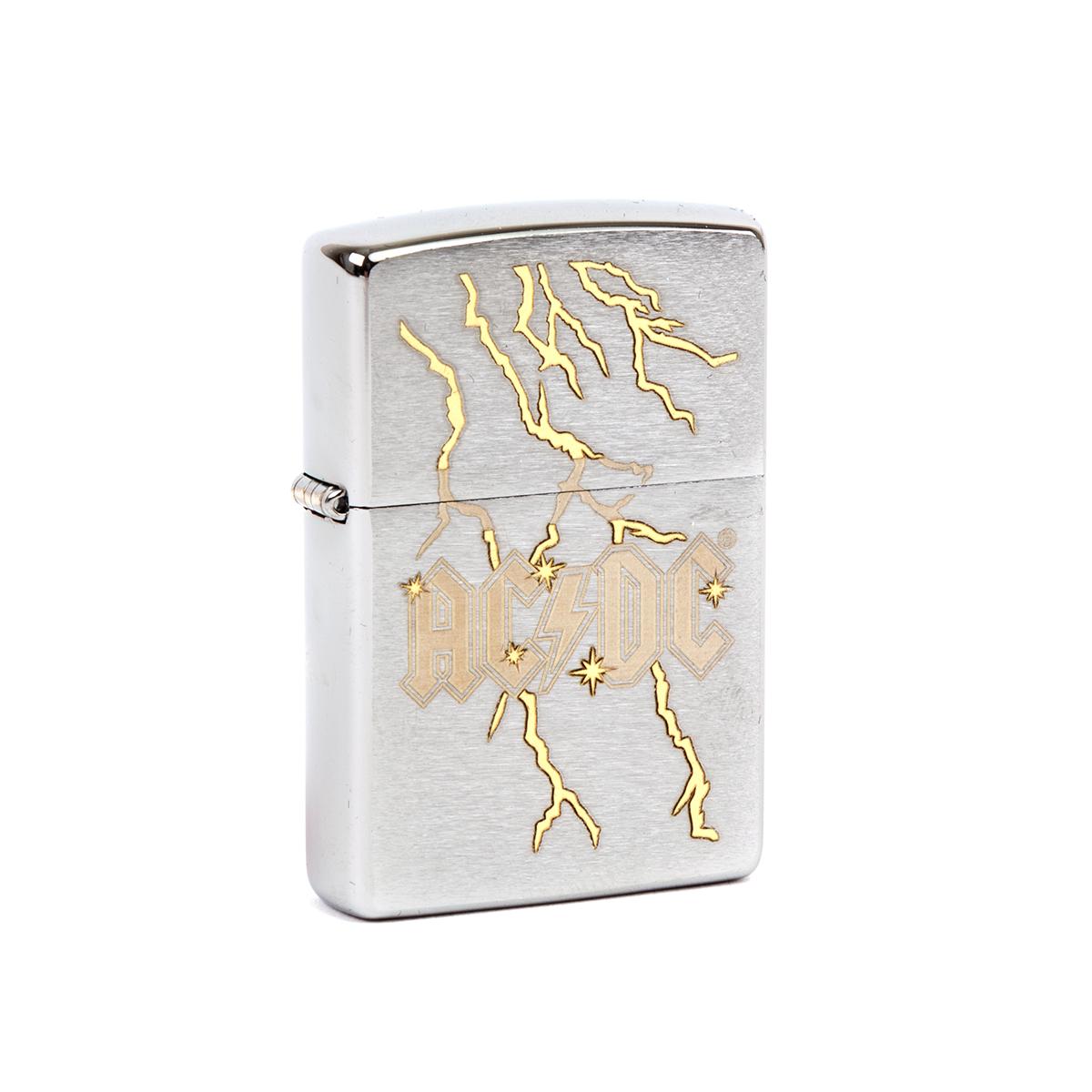 AC/DC Silver Lightning Bolt Zippo Lighter