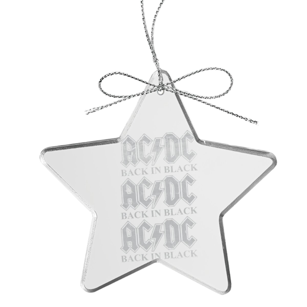Back In Black Repeat Star Laser-Etched Glass Ornament