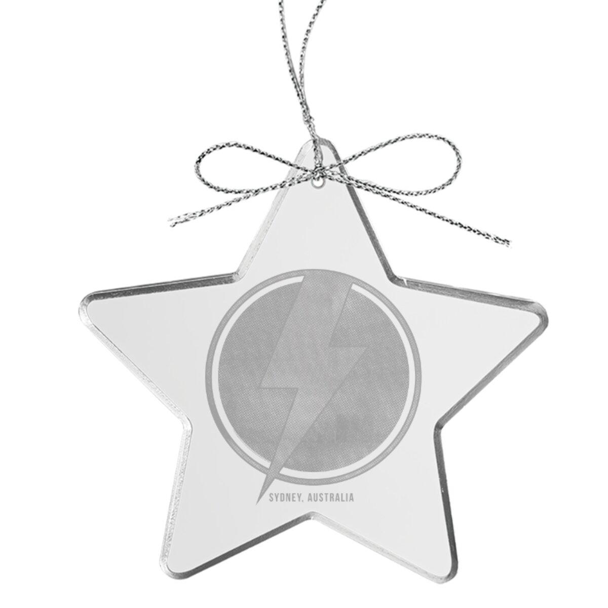 Bolt Star Laser-Etched Glass Ornament