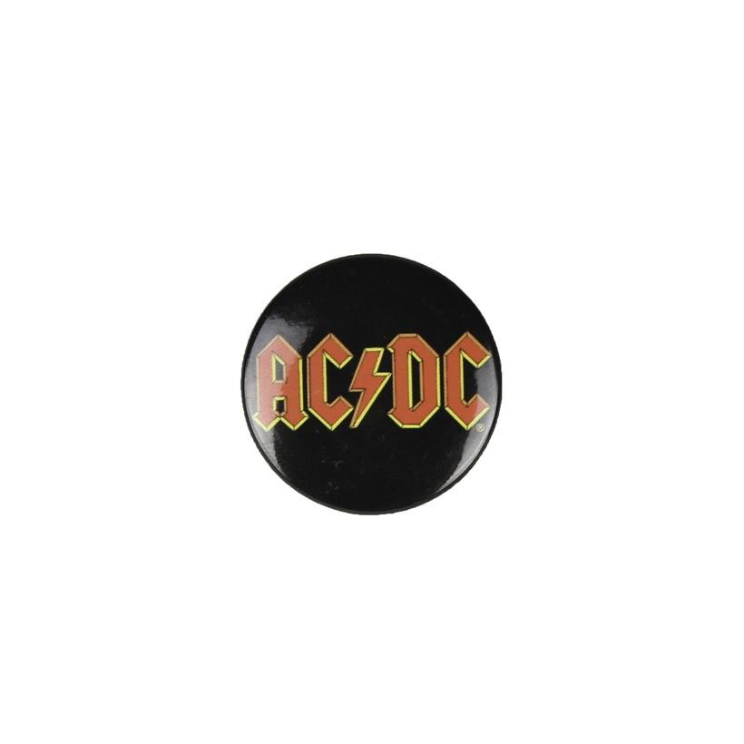 AC/DC Red Lightning Logo Button