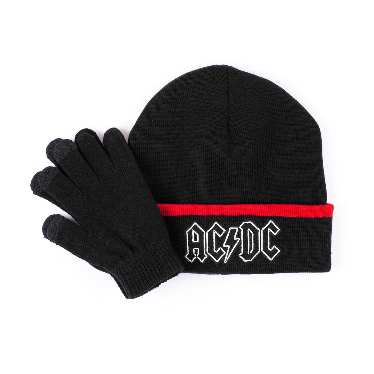AC/DC Black and Red Beanie with Black Gloves