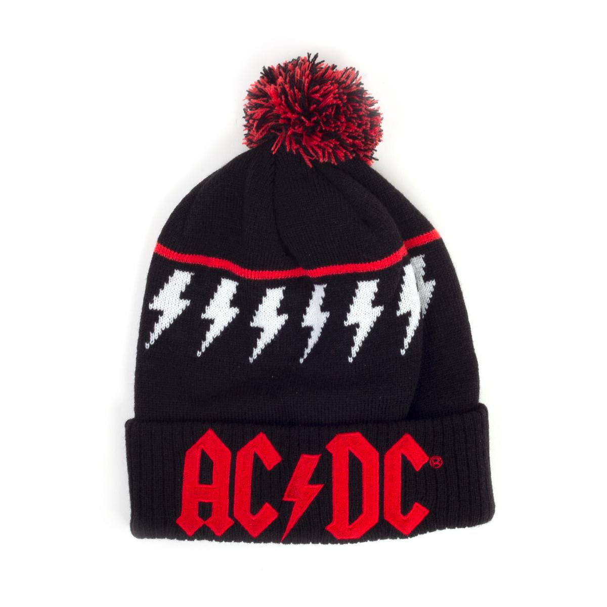 AC/DC Red Logo Lightning Bolt Black Beanie