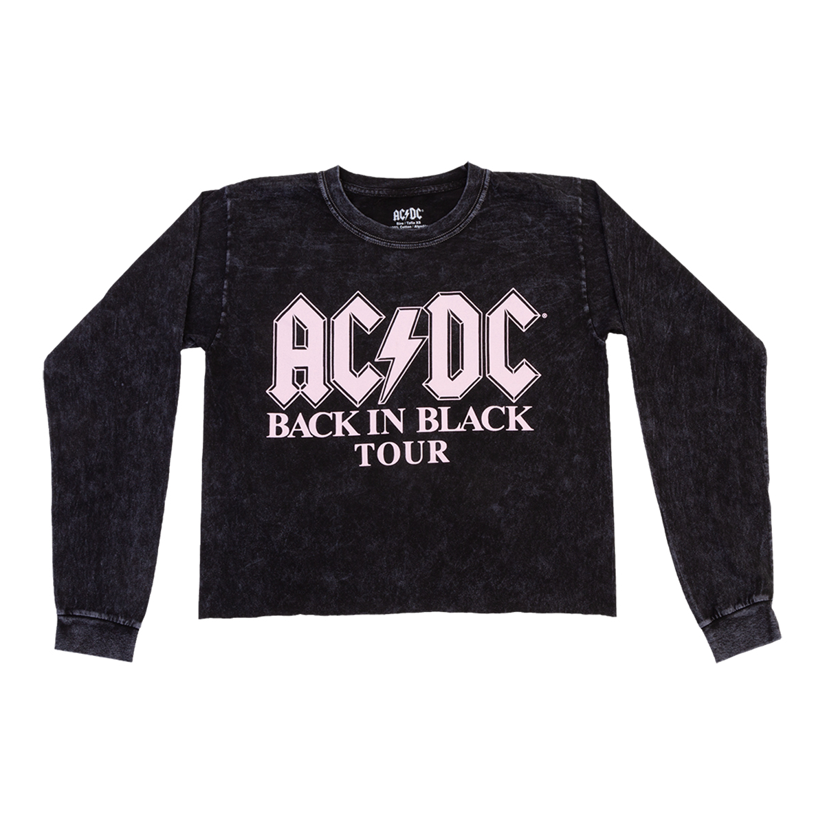 AC/DC Back in Black Longsleeve Crop Top T-shirt