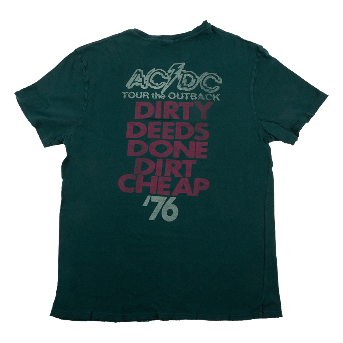 AC/DC Tour the Outback Dirty Deeds Dateback Forest Green T-shirt