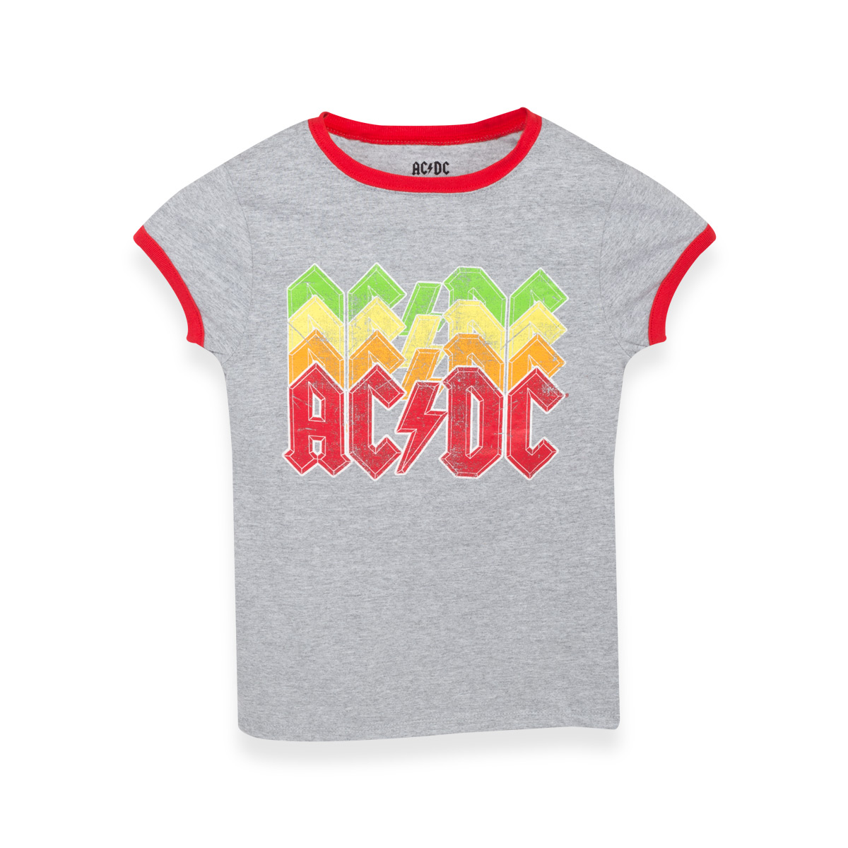 AC/DC Multi Color Logo Red Ringer Kids T-Shirt