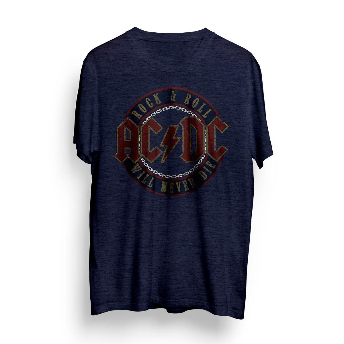 AC/DC Rock & Roll Will Never Die Circle Logo T-Shirt - Blue