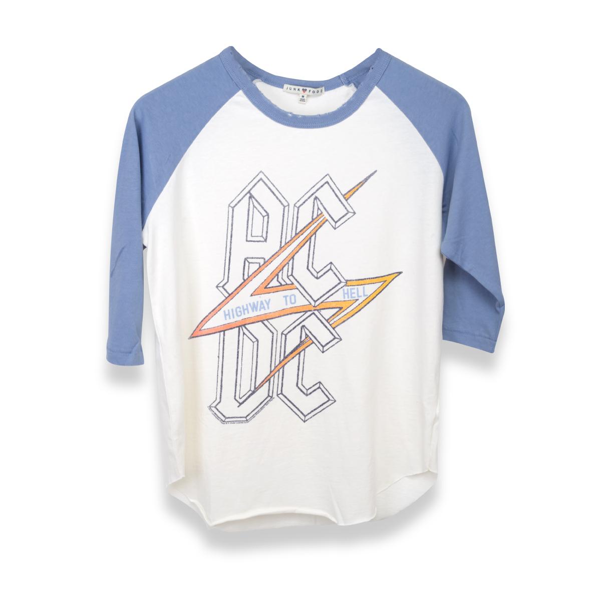 AC/DC Blue Highway To Hell White Lightening Bolt Raglan