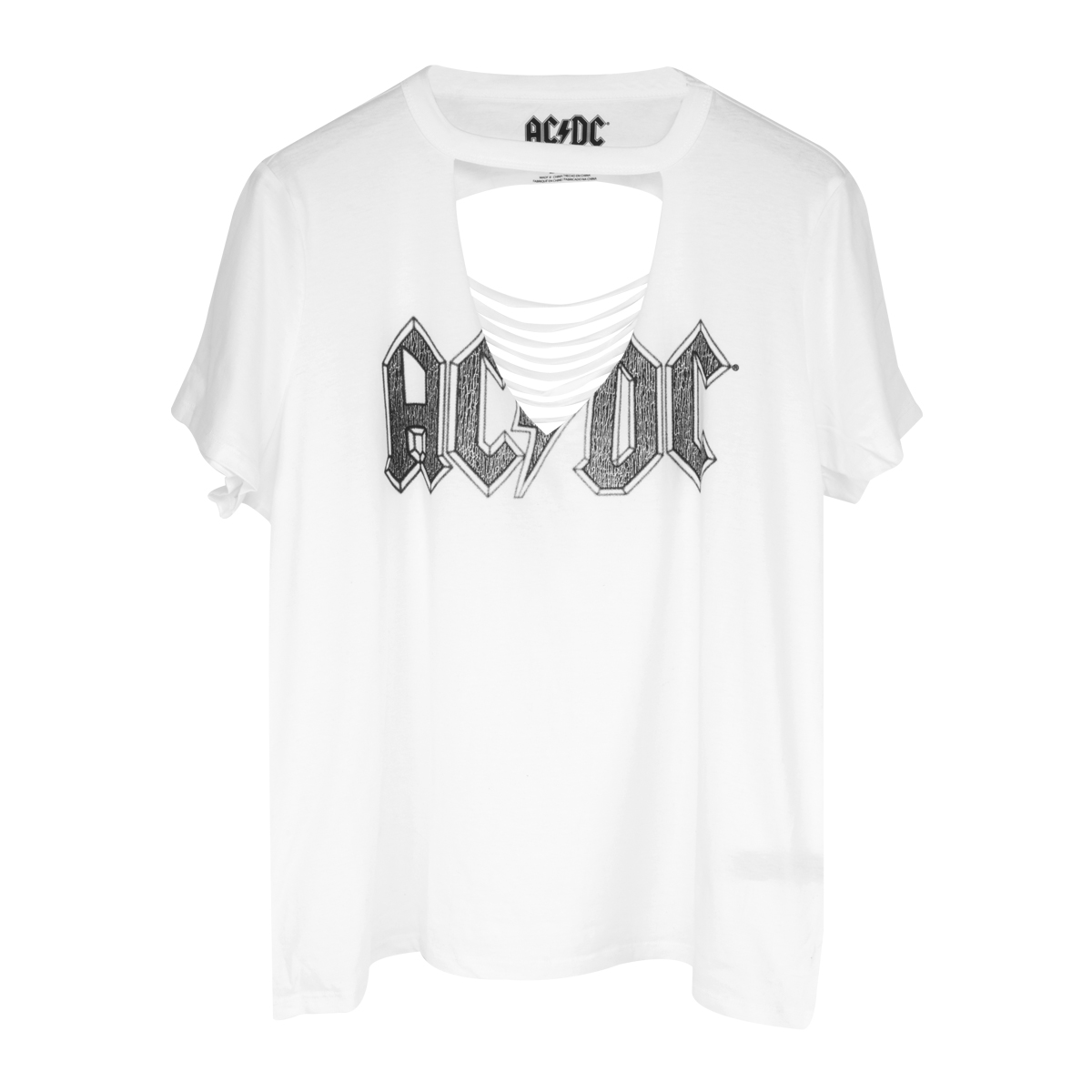 AC/DC Black Logo Women's White V-Cut T-Shirt