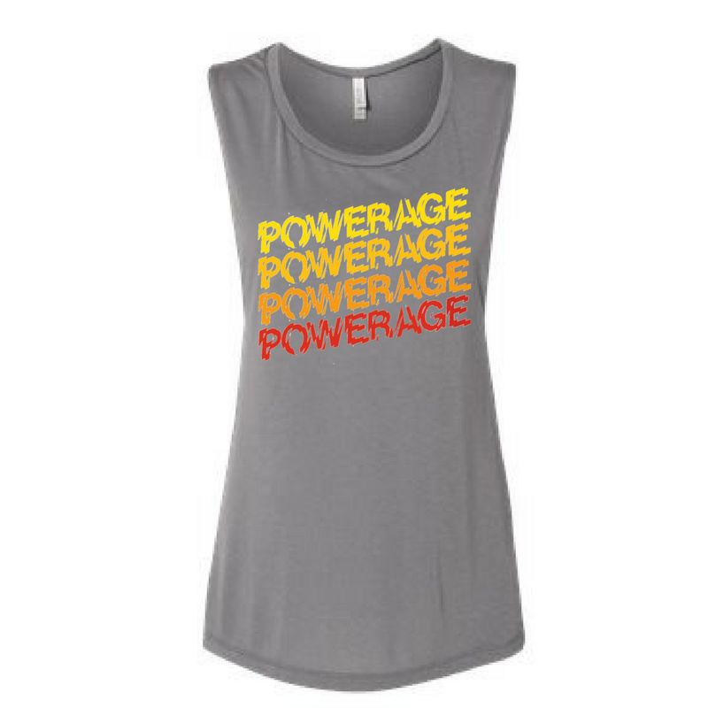AC/DC Women's Powerage Sleeveless Repeating Logo Tee