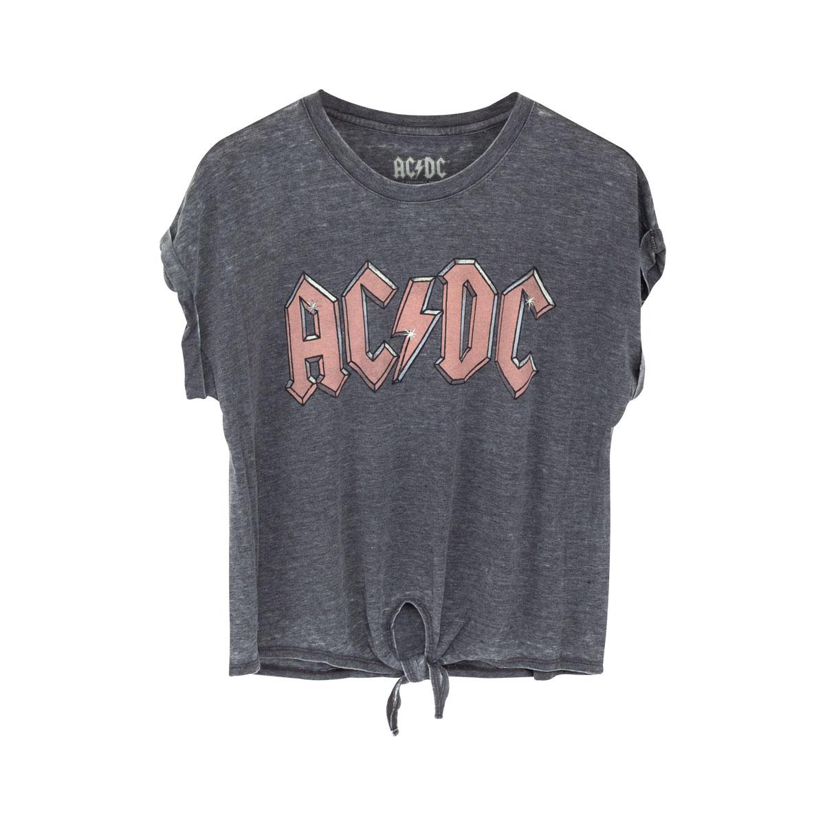 AC/DC Girls Pink Logo Tied Tee