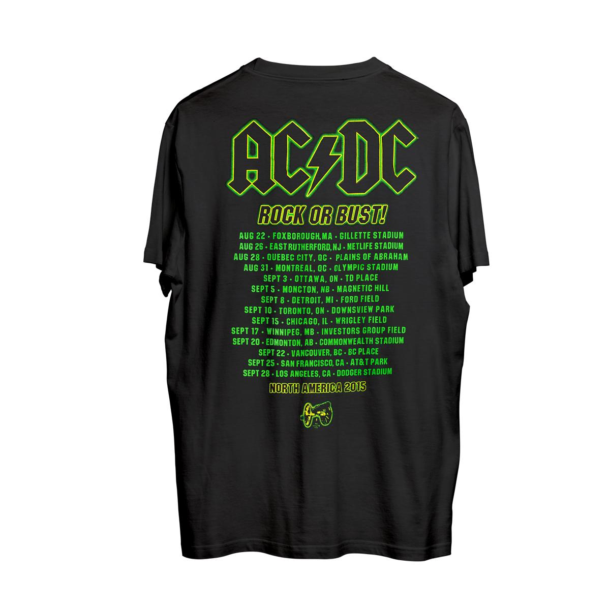 AC/DC Black LIVE 2015 dates T-shirt
