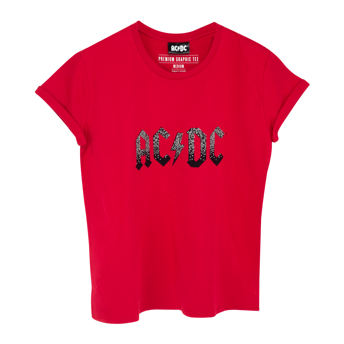 AC/DC Sequin Band Logo Red T-Shirt