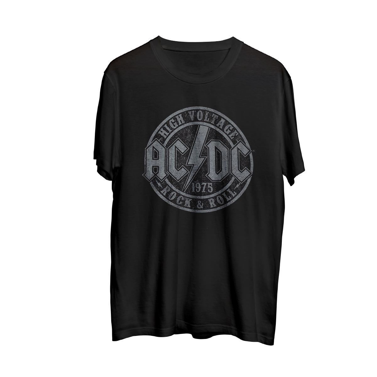 AC/DC High Voltage Rock and Roll Circle Logo Black T-Shirt