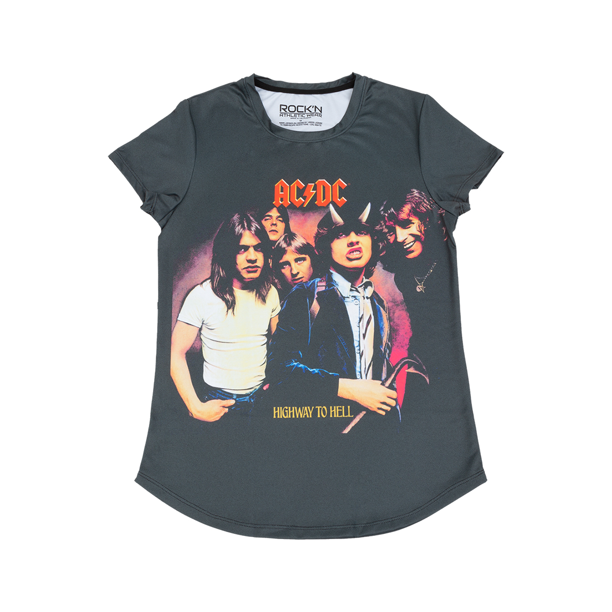 AC/DC Highway To Hell Faded Black Ladies Athletic T-Shirt