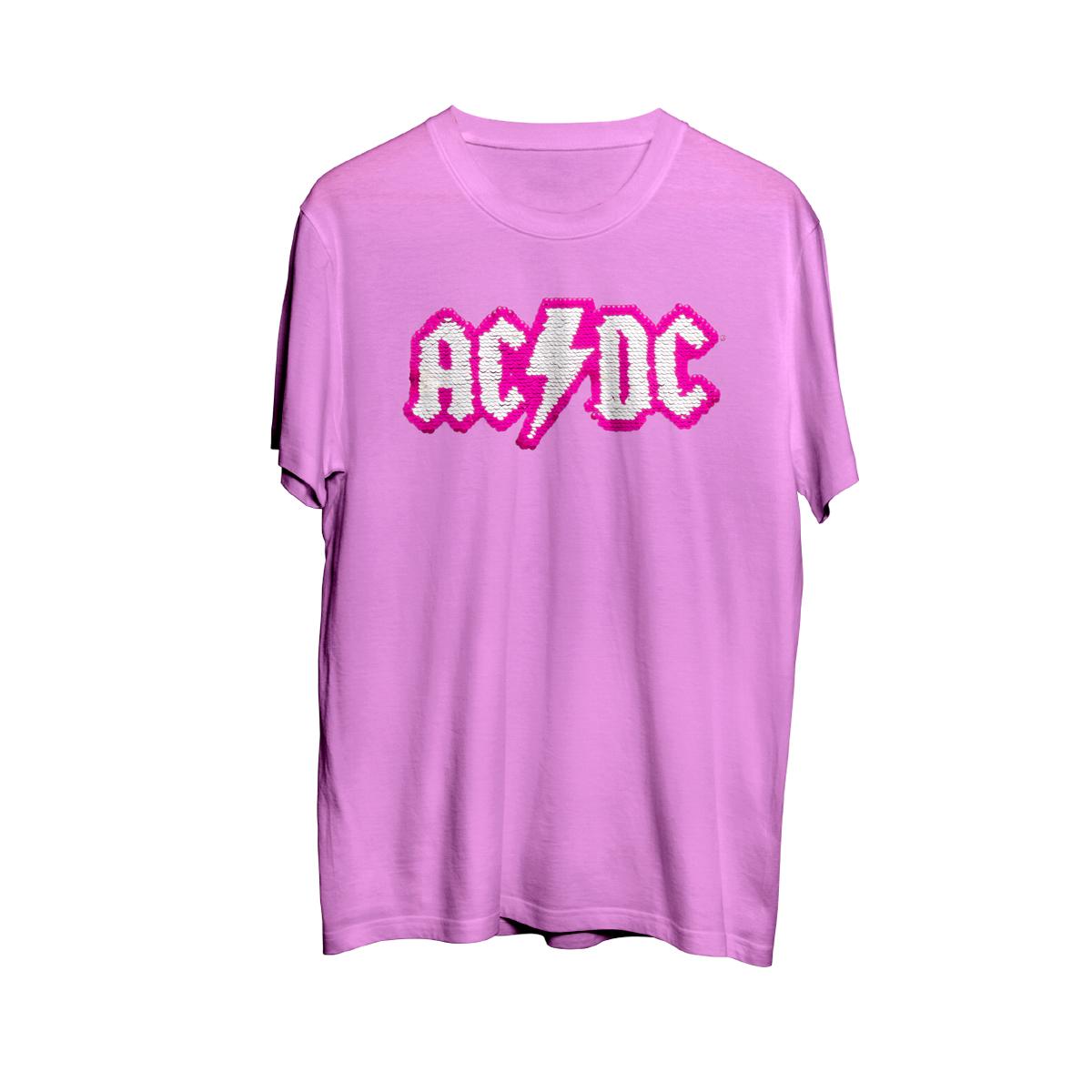 AC/DC Two Way Sequins Logo Pink Girls T-Shirt