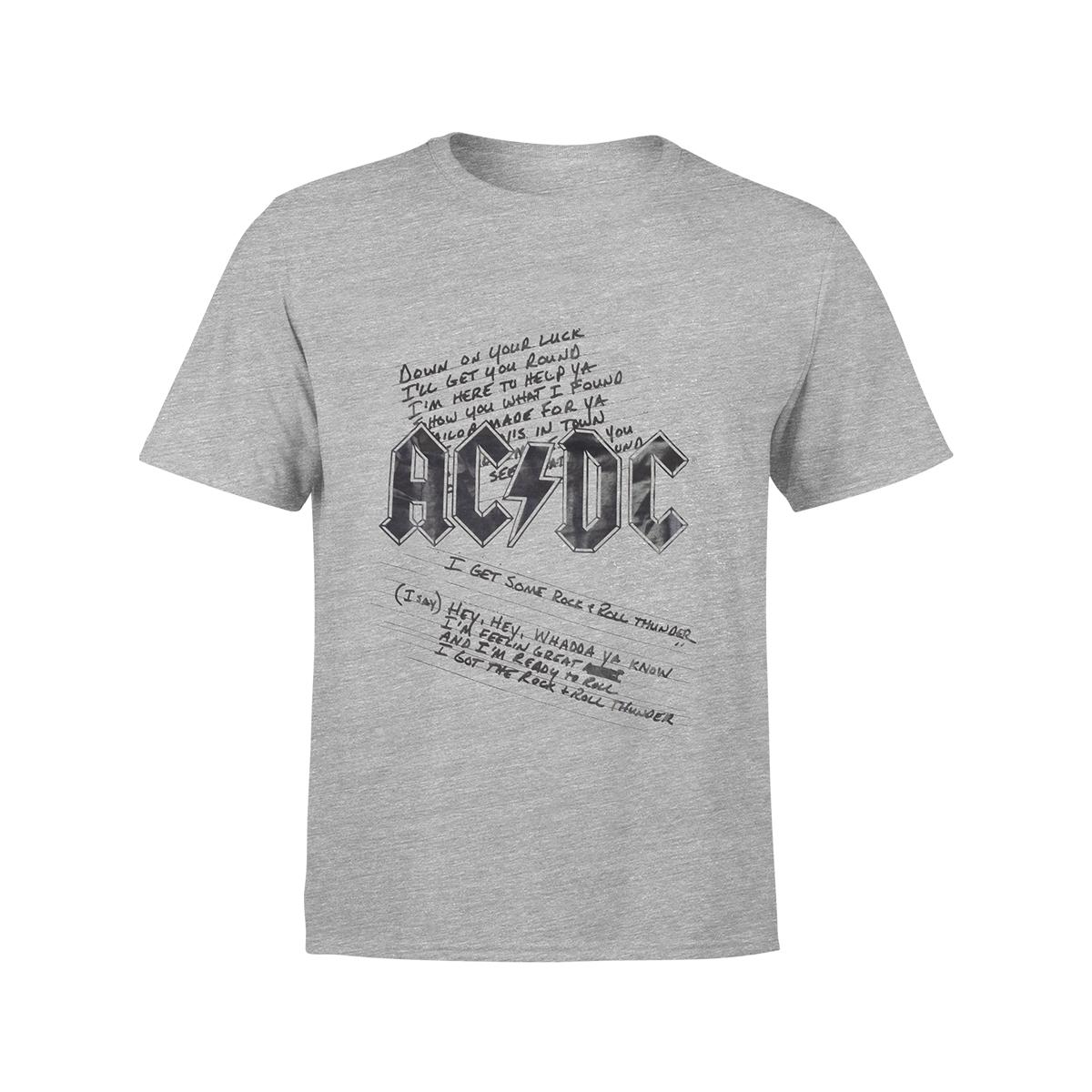 AC/DC Kids Logo & Lyrics Grey T-Shirt