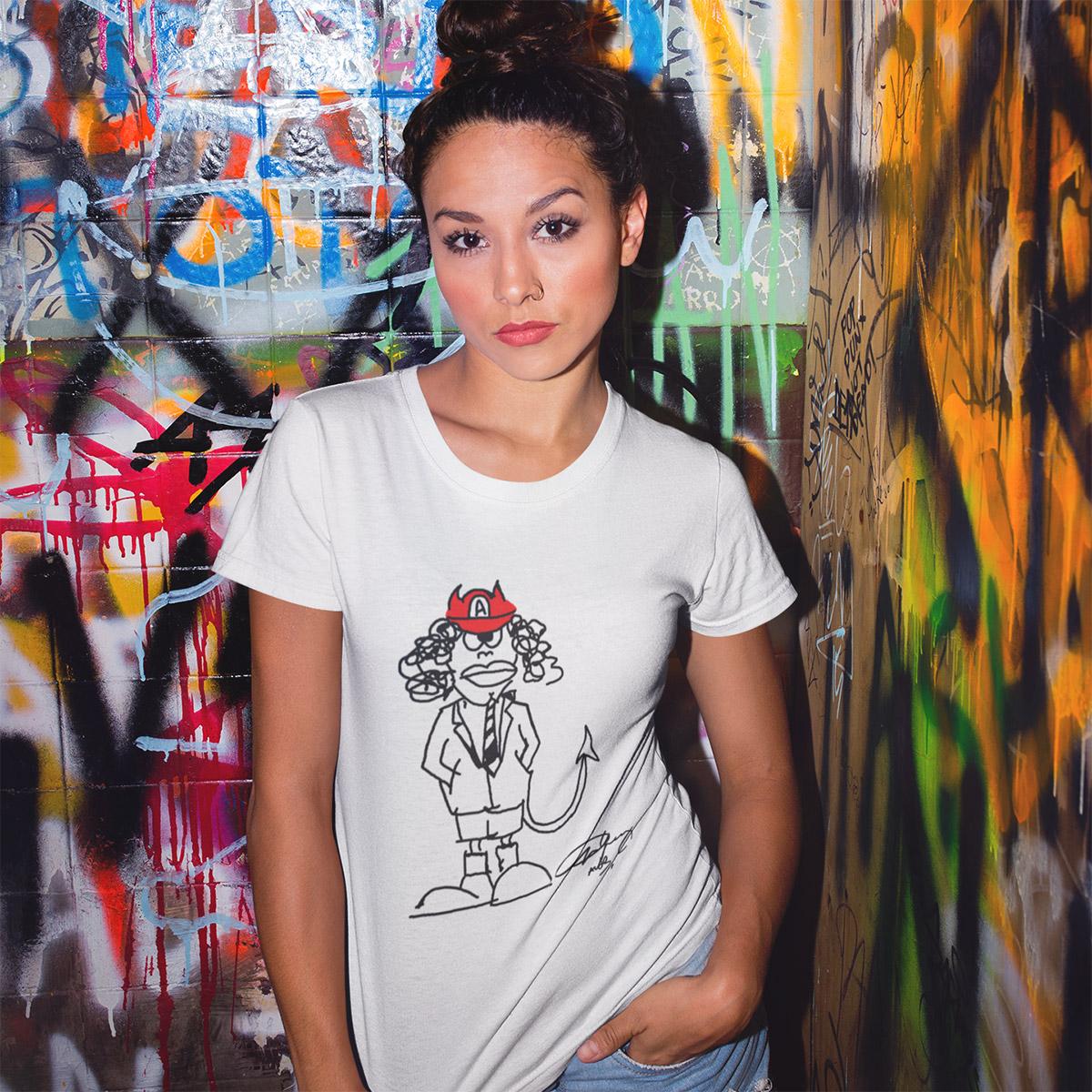 Angus Signature Cartoon Ladies Fitted T-shirt